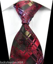 New Paisleys Stripes Red Purple Brown JACQUARD WOVEN 100% Silk Men's Tie Necktie