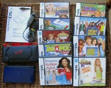 Nintendo DS Lite Console 2006 Blue Black Adapter 9 Games Bundle Stylus NERF Case