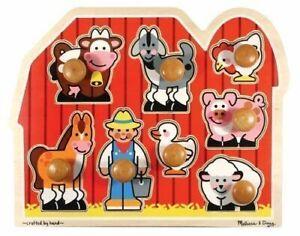 Melissa & Doug - Large Farm Jumbo Knob Puzzle 8pc