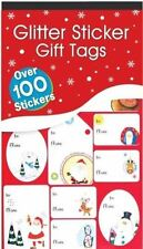 100 Navidad Pegatina etiquetas de regalo rojo con Purpurina METALIZADO