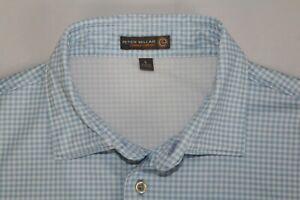 PETER MILLAR L Summer Comfort Tiburon Naples Blue & White Gingham Check Shirt