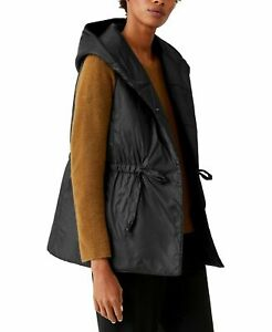 NWT Eileen Fisher Plus Black Recycled Nylon Puffer Hooded Tunic Vest 1X 2X