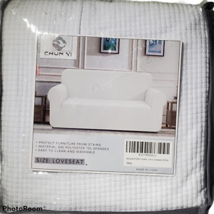 White Loveseat Cover Polyester Spandex Blend Machine Washable New In Retail Bag