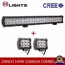 23INCH 144W CREE LED COMBO WORK LIGHT BAR OFFROAD SUV JEEP With 2PCS 18W SPOT