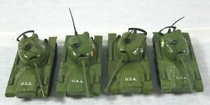 4 Diecast T-412 Patton Tanks 2 Zylmex Hong Kong & 2 China
