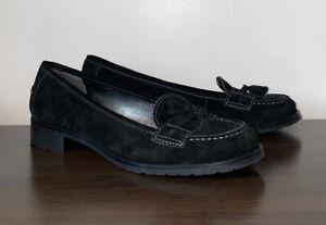 TALBOTS Suede Leather Tassel Loafer Pump Moccasin Slip-On Heel Women's Size 9.5