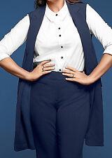 Lane Bryant Womens Long Vest by Glamour X Plus 18/20 Navy Blue  $90