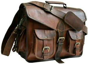 Handmade Unisex Large Briefcase Real Vinatge Brown Leather Messenger Laptop Bag