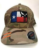 Punisher Skull Flag embroidered Official Flexfit Multicam Cap MTP Tactical Army