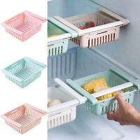 Adjustable Fridge Drawer Holder Organizer Basket Rack Space Saver Storage Box