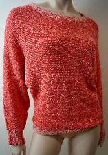 PAUL & JOE SISTER Orange Red & Cream Batwing Long Sleeve Jumper Sweater Sz3 M