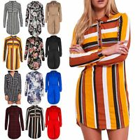 Ladies Multicoloured Stripes Collared Front Buttons Full Sleeves Shirt Dress