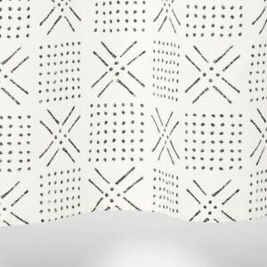 Threshold Shapes Fabric Shower Curtain Black Ivory White 72 x 72 Defects
