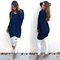 Women Winter Long Sleeve Jumper Mini Dress Bodycon V Neck Knit Top Baggy Sweater
