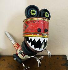 Dinnosaur Sculpture Assemblage From Vintage Baking Powder & Candy Tins