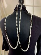 BNWT LONG FAUX PEARL COUTURE STATEMENT NECKLACE BLACK ENAMEL FOUR LEAF CLOVER