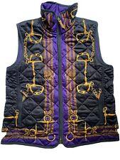 Ralph Lauren Back Purple Vest Sz M Equestrian Reversible Quilted