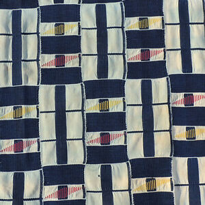 old 72x43 inch hand woven african cloth textile from the Ivory Coast #22