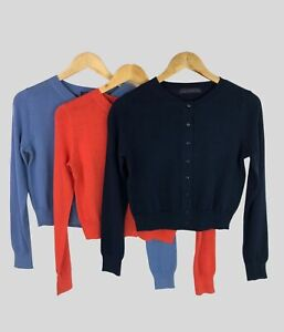 Marks Spencer EX M&S Womens Cotton Crop Navy Blue Coral Long Sleeve Cardigan