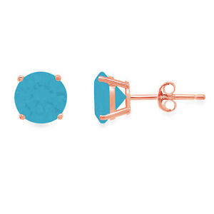 2.0 ct Round Cut Solitaire Studs Turquoise CZ 18k Rose Gold Earrings Push back