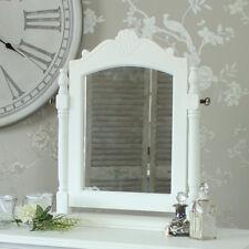 White wood dressing table mirror freestanding vanity swing shabby vintage chic