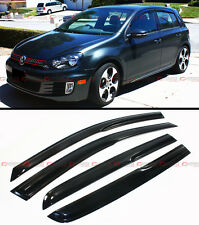 3D WAVY SHAPE SMOKE TINTED WINDOW VISOR VENT SHADE FOR 2008-2014 VW MK6 GOLF GTI