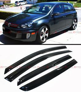 3D WAVY SHAPE SMOKE TINTED WINDOW VISOR VENT SHADE FOR 2008-2014 VW MK6 GOLF GTI
