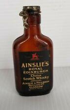 Vintage Ainslie's Royal Edinburgh Mini Whisky Bottle Heilbron Glasgow
