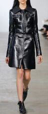 $3495 Calvin Klein Collection Runway A-Line Textured Leather Skirt Black 0 XS