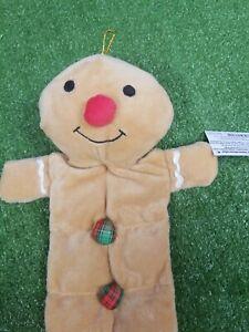 Grriggles Squeaktacular Christmas Gingerbread Man Dog Plush Tug Toy Interactive