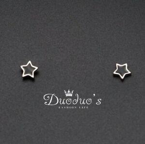925 Sterling Silver Black Star  Earrings Earrings