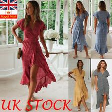 Women Boho Floral Wrap Dress Tie Up Lady Summer Holiday Short Sleeve Sundress UK