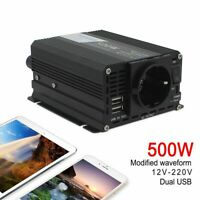 Portable Car Power Inverter 500W/1000W DC 12V to AC 220V-240V Charger Converter