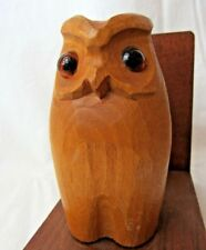 Vintage Owl Bookends Wood Wooden Owls Books Library Carved w/ Glass Eyes