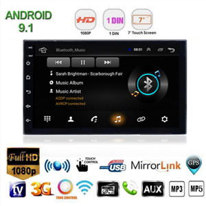 7in Android 9.1 Car Stereo GPS Navi MP5 Player Bluetooth 1Din WiFi With 4LED Cam