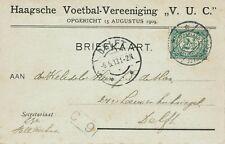 briefkaart Haagsche Voetbal Vereeniging V.U.C. met perforatie HENNY op NVPH 55