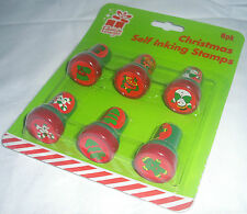 NEW 6 SELF INKING CHRISTMAS STAMPS STAMPERS RED GREEN INK TREE SNOWMAN STOCKING