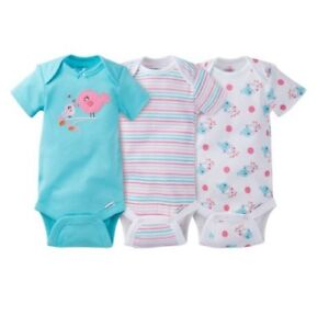 Gerber Baby Girl 3-Piece Aqua Birds Onesies Size 0-3M; Baby Clothes Shower Gift