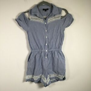 Topshop womens playsuit romper size 8 blue striped collared cotton short sleeve