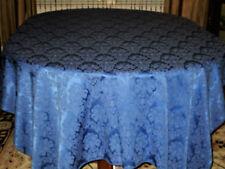 "Rare-Vintage ""Hanukkah"" Blue Damask-Tablecloth/Set 60 x 104"" Eight Napkins Ex."