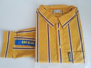 NEW IKEA  Staff Striped Yellow Sales Employee Uniform Shirt Long Sleeve 3XL