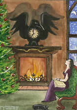 ACEO RYTA BLACK CAT XMAS PRINT OF PAINTING CLOCK VICTORIAN GOTHIC STYLE CROW ART