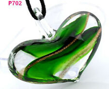 1pcs handmade Slap-up heart lampwork art glass beaded pendant necklace JP