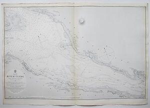 1880 SCOTLAND RIVER CLYDE GREENOCK TO DUMBARTON ANTIQUE ADMIRALTY CHART MAP