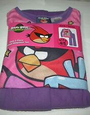 New Girls Angry Birds  2 piece Flannel Pajamas Sleepwear Set Size 4/5