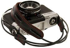 Black leather cord neck strap for RF film Digital camera NEX E-P X10 Nikon Leica