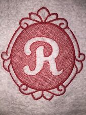 Embroidered White Bathroom Hand Towel- Ornate Embossed Monogram Letter R HS0863