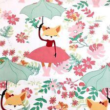 Dancing in the rain. Fox, Umbrella 100% Cotton Fabric. Price per 1/2 meter