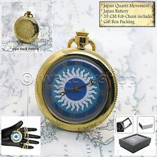 GOLD Plated Antique Open Face Quartz Pocket Watch Fob Chain Gift Box P199
