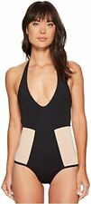 L*SPACE ONE PIECE ELA BLACK SKIN SWIM SUIT SIZE 4 NEW HALTER Plunge Neck 1335